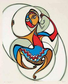 L'œuvre de Daphne Odjig a connu plusieurs transitions. L'artiste a reçu nombre de diplômes honoris causa, de prix et de récompenses internationales. Cependant, dans le cœur de cette femme humble, charmeuse et gracieuse résident une passion pour la vie, une soif de connaissance et un esprit qui a influencé et dynamisé les aspirations politiques et créatrices de générations d'artistes canadiens. (Hoop Dancer)
