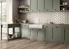 Eight different colors for many different living areas # tiles # new . Eight different colors for many different living areas # Kitchen Tiles, Kitchen Design, Kitchen Cabinets, Sage Green Kitchen, Rustic Kitchen Decor, Home Upgrades, Cuisines Design, Trendy Home, Living Area