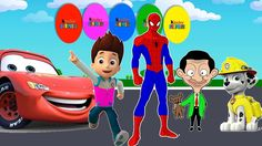 Colors for Children to Learn with Ryder Paw Patrol, Spiderman, Lightning...