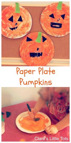 Paper plate pumpkins easy Halloween craft idea for toddlers and preschoolers.