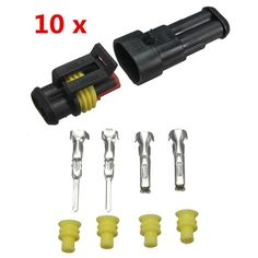 10sets New Car Part 2 Pin Way Sealed Waterproof Electrical Wire Auto Connector Plug Set FREE SHIPPING