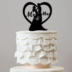 Sweetest Love Heart Shape Wedding Cake Topper (Romantic Mr Mrs) – CHARMERRY
