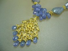 Faceted tanzanite gold necklace by perlasmil1 on Etsy