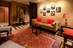 Opry Bluegrass Dressing Room. Love the striped floor with oriental rug.