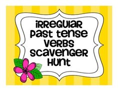 This game is a fun way for students to identify and match irregular past tense verbs with the present tense verb. This irregular verb scavenger hunt recording sheets words or 20 extension activities for irregular past tense verbs Speech Therapy Activities, Writing Activities, Speech Language Therapy, Speech And Language, Writing Workshop, Writing Skills, Irregular Past Tense Verbs, Present Tense Verbs, Similes And Metaphors