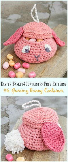 Crochet Easter Basket & Containers Free Patterns: Crochet Basket, Storage Container for Easter decoration and egg hunting, kids Easter Egg basket, bunny basket Easter Crochet Patterns, Crochet Poncho Patterns, Crochet Crafts, Crochet Projects, Crochet Patterns Amigurumi, Crochet Dolls, Crochet Baby, Holiday Crochet, Easter Baskets