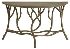 hidcote console by currey & company.... faux bois involving concrete over metal = wood look