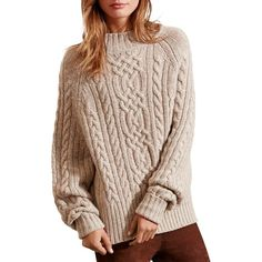 Lauren Ralph Lauren Cable Knit Sweater ($165) ❤ liked on Polyvore featuring tops, sweaters, taupe marl, taupe tops, ralph lauren sweater, brown sweater, chunky cable knit sweater and cable sweater