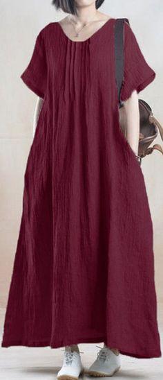 US$ 19.03 Women Solid O-Neck Ruffled Short Sleeve Maxi Dress