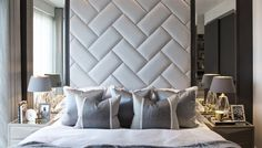 Master bedroom and headboard goals ✨👏🏻🙌🏻 We opted for a upholstered headboard with padded panels, adding a timber frame surrounding the elegant antique mirrors to create a wow factor! Luxury Bedroom Design, Bedroom Bed Design, Bedroom Designs, Interior Design, Bed Headboard Design, Headboards For Beds, Modern Headboard, Headboard Ideas, Sofa Design