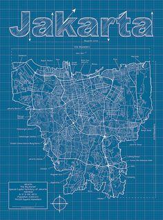 Jakarta Artistic Blueprint Map by MapHazardly on Etsy
