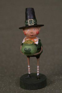 Lori Mitchell Lucky Liam with a pot of gold. Whimsical St. Patrick's day Leprechaun.