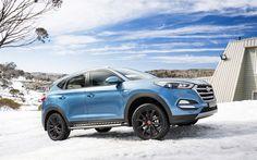 Download wallpapers Hyundai Tucson, 2017, 30 Special Edition, blue crossover, tuning, black wheels, Hyundai