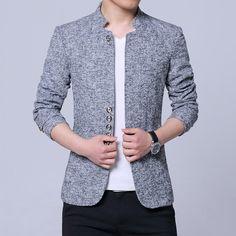Men leisure suit age season Cultivate one's morality coat collar suit Blazer Outfits Men, Mens Fashion Blazer, Casual Blazer, Blazer Suit, Casual Outfits, Mens Long Cardigan, Only Blazer, Best Leather Jackets, Blue Suit Men