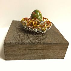 Mixed Metals Wire Bird Nest Decorative BoxUnakite Gemstone
