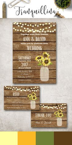 Sunflower Wedding Invitation Printable, Rustic Wedding Invitation Suite, Country Wedding Invitation, Mason jar Wedding Invite, Fall Wedding Ideas, DIY wedding Stationery. Matching signs and cards available at: tranquillina.etsy.com