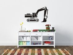 Excavator Digger Construction equipment vinyl wall decal quote