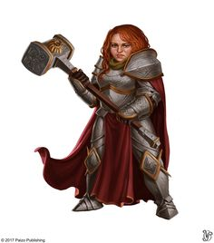 f Dwarf Paladin Plate Armor Cloak WarHammer female rpg d&d lg Dungeons And Dragons Characters, D D Characters, Fantasy Characters, Fantasy Character Design, Character Inspiration, Character Art, Fantasy Dwarf, Fantasy Rpg, Fantasy Races