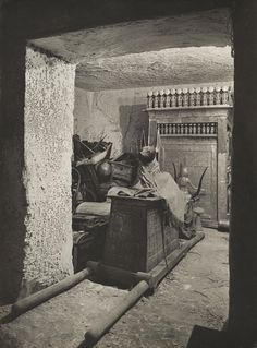 Treasury of Tutankhamun, 1926, by Harry Burton.  Burton's photograph of the treasury, a small room off the burial chamber in the tomb of Tutankhamun, is a classic image of discovery. Ancient Egypt .