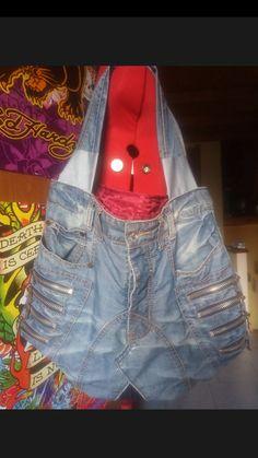 Borsa jeans con cerniere