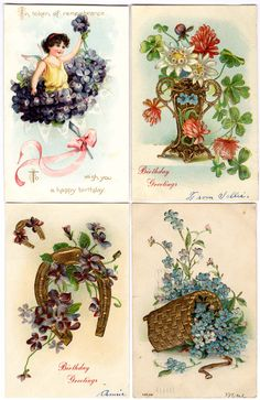 #Victorian #scrap #birthday #chromograph #lithograph #floral (turn of the century birthday postcard greetings) #violets #forget-me-nots #daisy