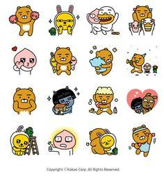 Cartoon Stickers, Tumblr Stickers, Kawaii Stickers, Cute Stickers, Cute Lockscreens, Kakao Friends, Kawaii Doodles, Friends Wallpaper, Line Friends