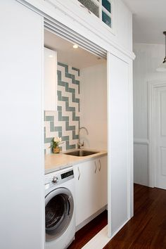 59 European Laundry Room That Always Look Awesome - Futurist. - 59 European Laundry Room That Always Look Awesome – Futuristic Interior Designs Technology Inspi - Laundry Cupboard, Laundry Closet, Laundry In Bathroom, Laundry Rooms, Bathroom Closet, Hidden Laundry, Small Laundry, Hidden Kitchen, European Laundry