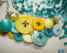 Button Necklace - Vintage button jewelry - Aqua-Turquoise blue - Yellow - BY THE SEA