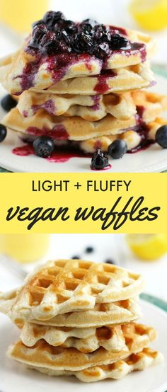 Easy and delicious light and fluffy vegan waffles. Perfect for the weekend! #vegan