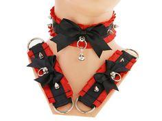 Black red kitten play collar and cuffs, bracelet, Choker, DDLG collar, gothic punk, Kittenplay, steampunk, BDSM, Collar Kitten, goth S1