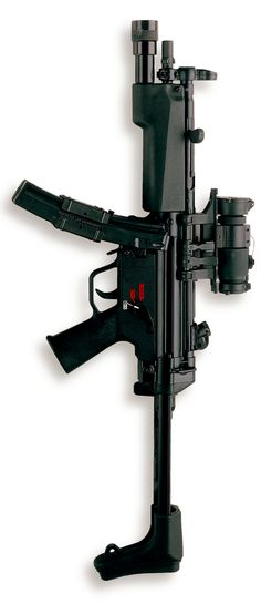HK MP5 with Surefire handguard and Aimpoint M3 RDS. Dead sexy!!