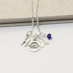 Personalized Diabetes Awareness Necklace with Your Initial and Birthstone