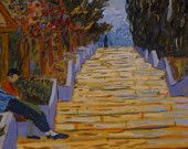 ORIGINAL Oil Painting:BREAK in front of STAIRS at Teneriffer/ Modern Fine Art with frame
