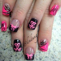 Pink and black chanel and bow nailart #nailart #nails #black #pink #chanel #bow
