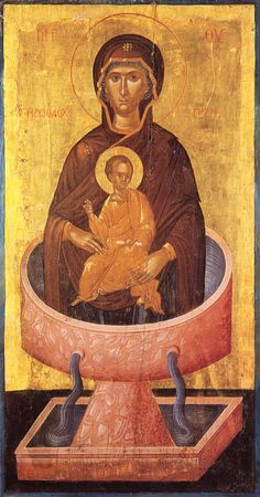 """Christ is risen! The Most-holy Theotokos, the """"Life-giving Spring"""", who bears Christ, commemorated the Friday of Bri. Byzantine Icons, Byzantine Art, Religious Icons, Religious Art, Christ Is Risen, Queen Of Heaven, Russian Icons, Best Icons, Madonna And Child"""