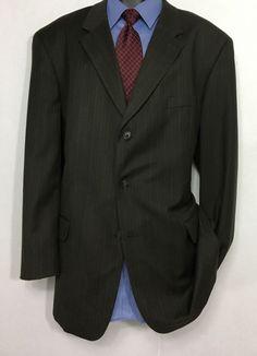Mens JACQUES BELLINI Gray Striped Suit Jacket | 3 Button Sport Coat 46L #JacquesBellini #ThreeButton