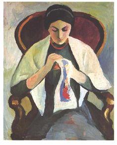 'frau nähen', öl auf leinwand von August Macke (1887-1914, Germany)