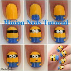 Quick pictorial for the Minion Nails Nail Art Hacks, Easy Nail Art, Cool Nail Art, Super Cute Nails, Pretty Nails, Minion Nail Art, Little Girl Nails, Nail Art Techniques, Sassy Nails