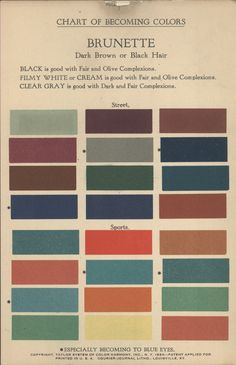 Chart of Becoming Colors, Brunette, Taylor System of Color Harmony, Inc. NY, 1924. The column on the left suited dark complexions, the center column suited light complexions and the column on the right suited olive complexions.
