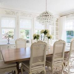 White Dove,  Benjamin Moore, French Dining Room with Built In China Cabinet
