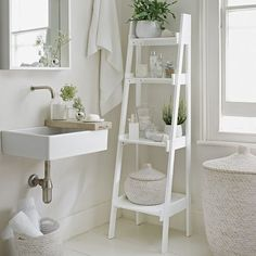 Go with an all-white decorating scheme to make your bathroom feel more spacious. A slim tapering ladder shelf unit, like this from The White Company, provides essential storage. Decorate the bathroom with potted plants and bud vases to add a natural touch Decor, Shelves, Interior, Bathroom Ladder, Home Decor, House Interior, Bathroom Ladder Shelf, Interior Design, Bathroom Decor