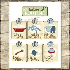 Instant Download - Printable Bedtime Routine Chart - Boy Theme