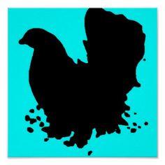 Black Chicken Art & Framed Artwork   Zazzle