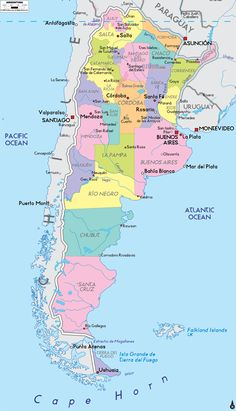 Detailed Political Map of Argentina Argentina Map, Visit Argentina, Argentina Travel, Ushuaia, Mainz Germany, South America Map, Sister Cities, Romantic Escapes, Historical Maps