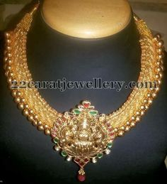 Tussi Necklace with Temple Pendant | Jewellery Designs