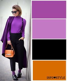 The most fashionable colors fall-winter and the best . Colour Combinations Fashion, Color Combinations For Clothes, Color Blocking Outfits, Color Combos, Purple Fashion, Fashion Colours, Colorful Fashion, Fall Fashion Trends, Autumn Fashion