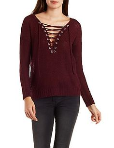 Lace-Up Pullover Sweater: Charlotte Russe