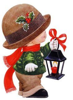 Ruth Morehead - little boy with lantern Christmas Scenes, Christmas Pictures, Christmas Angels, Christmas And New Year, Kids Christmas, Christmas Crafts, Xmas, Christmas Clipart, Vintage Christmas Cards