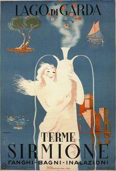 Terme di Sirmione, Lago di Garda - Italy Vintage travel beach poster #essenzadiriviera.com