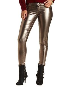 "Refuge ""Skin Tight Legging"" Gold-Coated Jeans: Charlotte Russe"